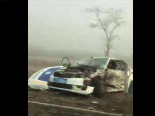 В Геническом районе в ДТП разбился полицейский автомобиль