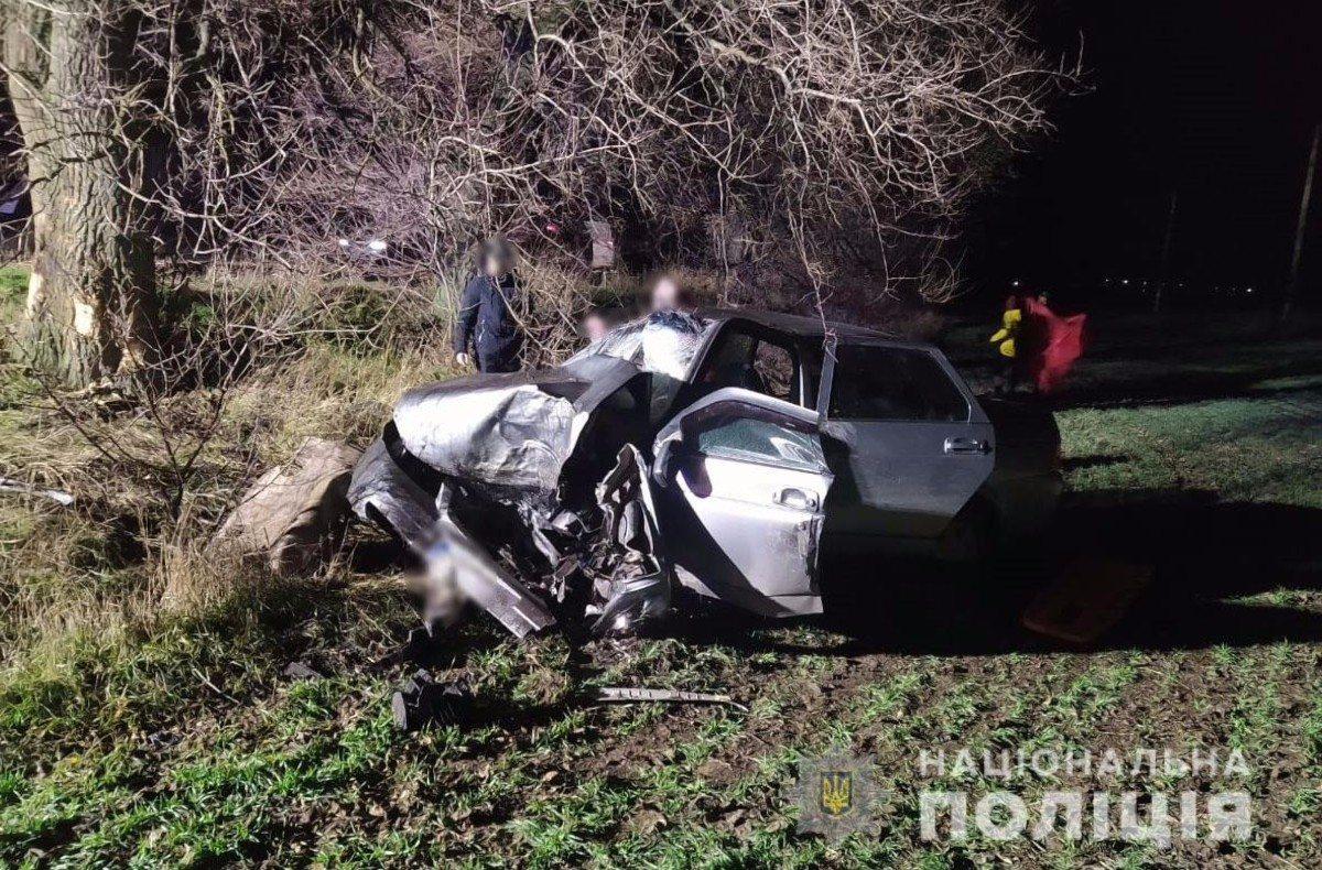 На Херсонщине автомобиль врезался в дерево - есть жертвы