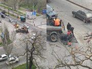 В Херсоне проводят ремонт центрального перекрёстка