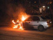 В Херсонской области автомобиль сгорел дотла после лобового столкновения