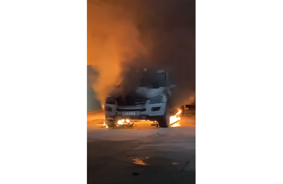 автомобиль, пожар, херсонкомунтранссервис
