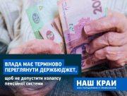 """""""Наш край"""" ініціює терміновий перегляд держбюджету, щоб забезпечити безперебійну виплату пенсій та лікарняних"""