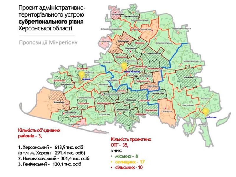 Херсонщину пропонують поділити на три райони