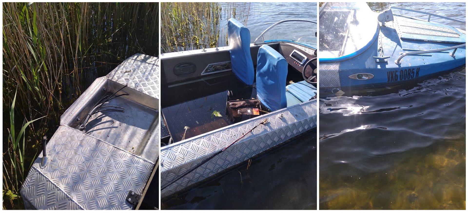 У Херсона на Днепре нашли полузатопленную лодку