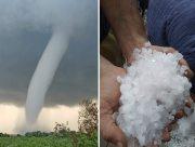 В Херсонской области наблюдали серию торнадо, после чего выпал град (фото, видео)