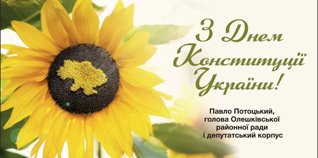 Голова Олешківської райради привітав з Днем Конституції України