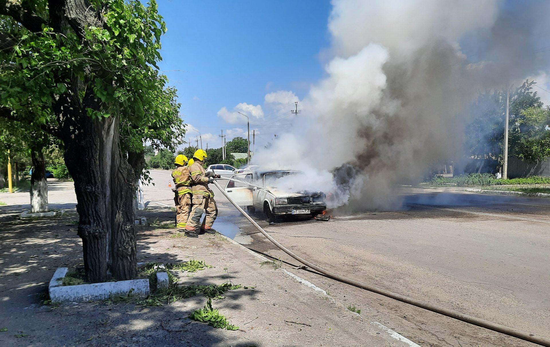 Геническ,пожар автомобиля