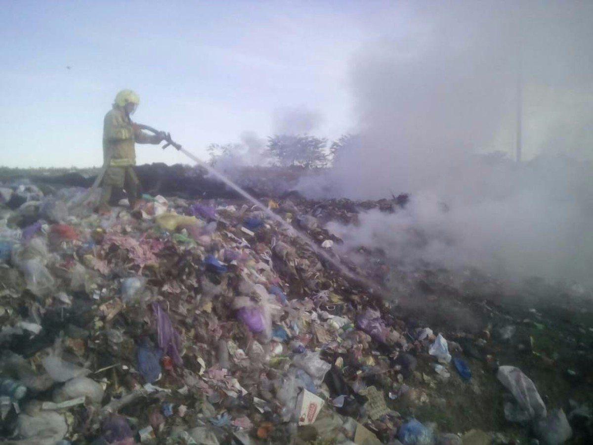 Берислав,пожар,мусор