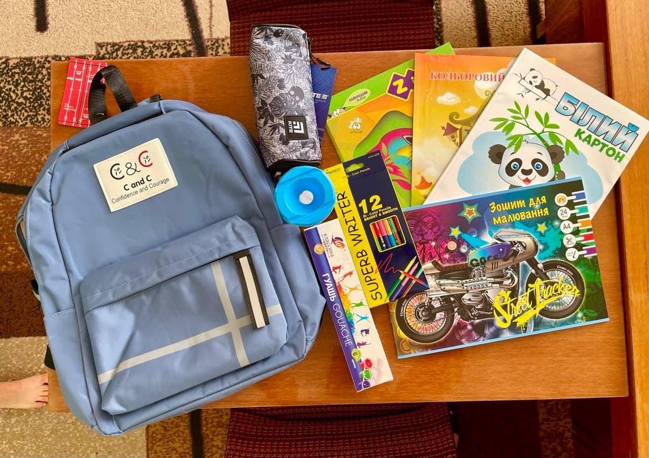 портфелі, діти, подарунки, облрада