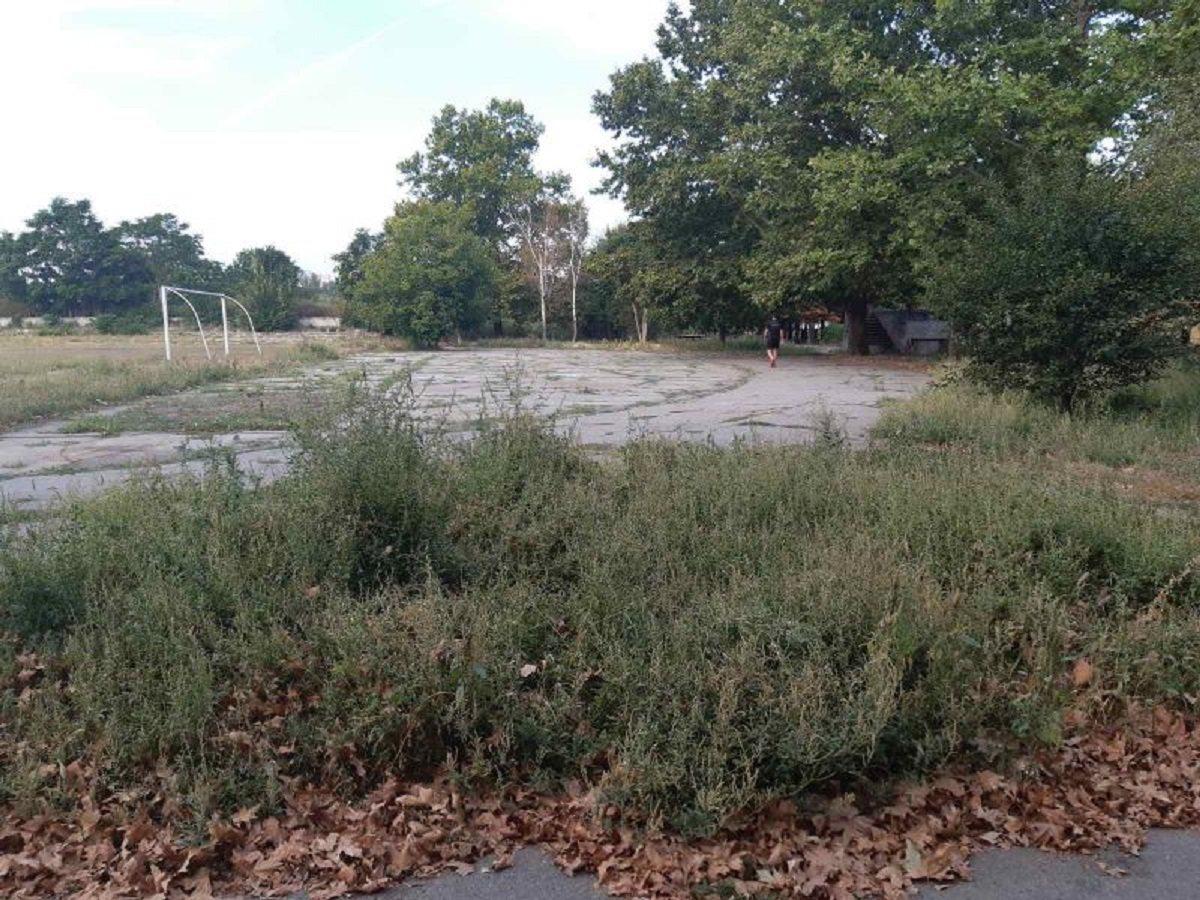 Действующий стадион в Херсоне зарос сорной травой