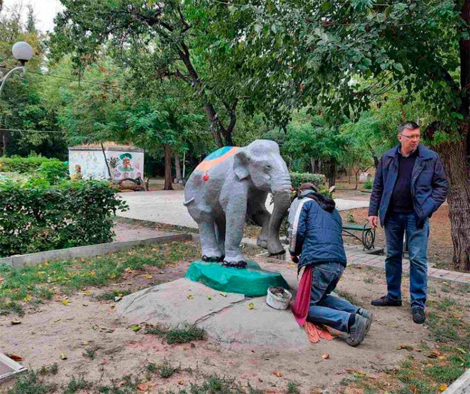 парк, відновлення, слон