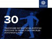 На Херсонщине в 2020 году в ДТП погибло 30 пешеходов